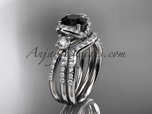 14kt white gold diamond unique engagement set, wedding ring with a Black Diamond center stone ADER146S