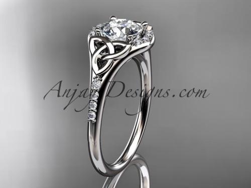14kt white gold diamond celtic trinity knot wedding ring, engagement ring CT7126