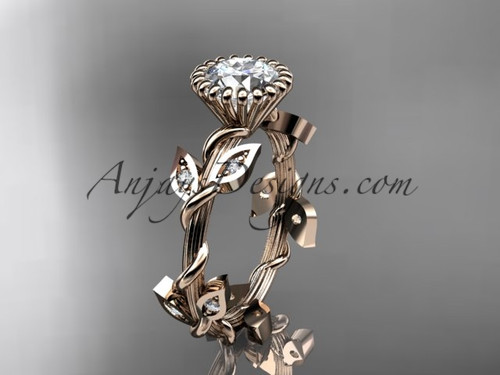 "14kt rose gold diamond leaf and vine wedding ring,engagement ring with a ""Forever One"" Moissanite center stone ADLR20A"