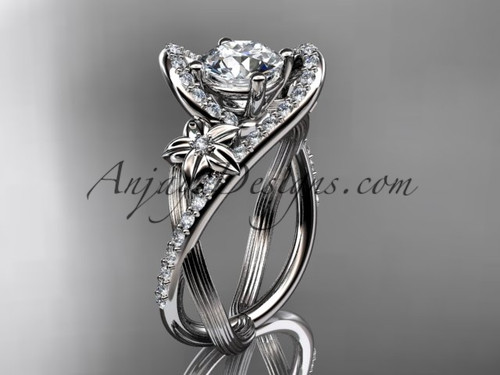 14k White Gold Flower Diamond Engagement Ring ADLR369