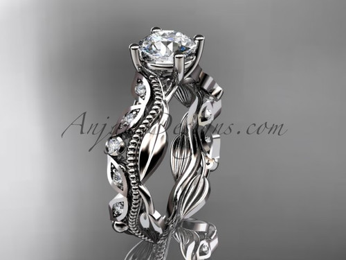 Platinum diamond leaf and vine wedding ring, engagement ring ADLR342