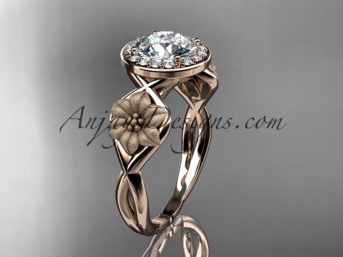 """Unique 14kt rose gold diamond flower wedding ring, engagement ring with a """"Forever One"""" Moissanite center stone ADLR219"""