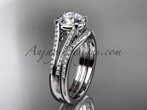 Platinum Solitaire Diamond Wedding Set, Moissanite Ring ADER108S