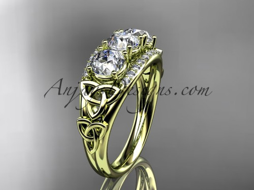 14kt yellow gold diamond celtic trinity knot  wedding ring, three stone engagement ring  CT7203