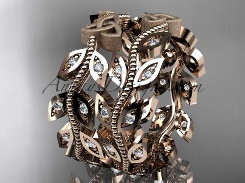 14kt rose gold diamond celtic trinity knot, leaf and vine wedding ring, engagement set, wedding band CT7162B