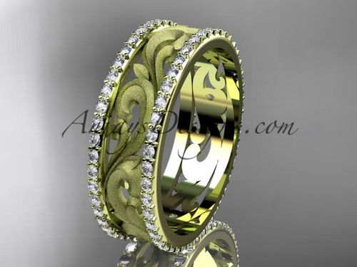 14kt yellow gold diamond engagement ring, wedding band ADLR414BD