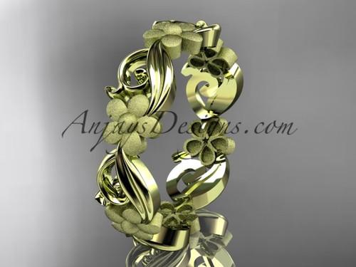 14kt yellow gold flower wedding ring, engagement ring, wedding band ADLR191G