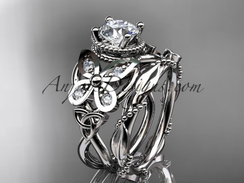 """platinum diamond celtic trinity knot  wedding ring, butterfly engagement set   with a """"Forever One"""" Moissanite center stone CT7136S"""