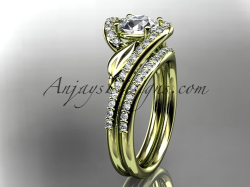 "14k yellow gold diamond leaf and vine wedding ring, engagement set with a ""Forever One"" Moissanite center stone ADLR317S"