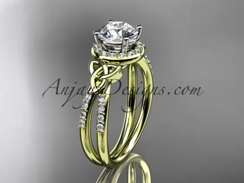 14kt yellow gold diamond celtic trinity knot wedding ring, engagement ring CT7373