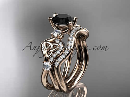 Black Diamond Wedding Ring Set Rose Gold celtic Engagement Ring CT768S