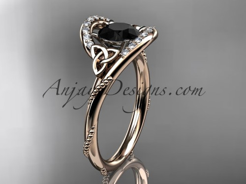 14kt rose gold diamond celtic trinity knot wedding ring, engagement ring with a Black Diamond center stone CT7166