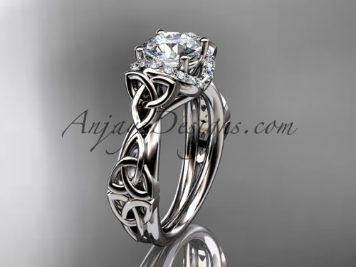 """platinum diamond celtic trinity knot wedding ring, engagement ring with a """"Forever One"""" Moissanite center stoneCT7289"""
