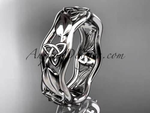Celtic Trinity Knot Wedding Band White Gold Leaf ring CT7105B
