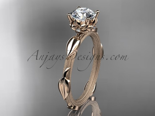 14k rose gold diamond vine and leaf wedding ring, engagement ring ADLR290