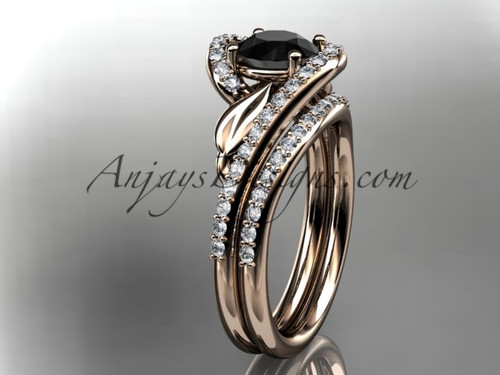 14k rose gold diamond leaf and vine wedding ring, engagement set with a Black Diamond center stone ADLR317S