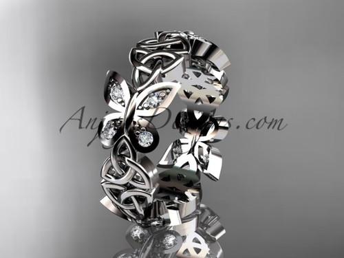 platinum diamond celtic trinity knot butterfly wedding band, engagement ring CT7418B