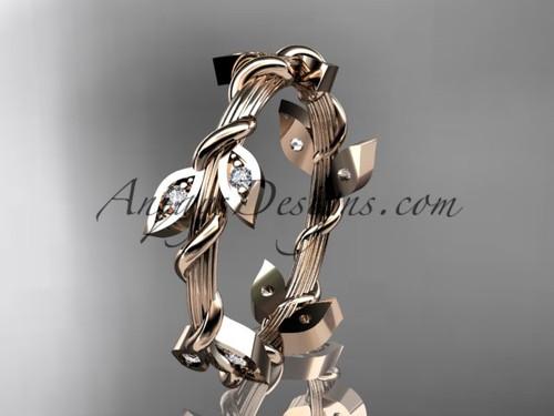 14kt rose gold diamond leaf wedding ring, engagement ring, wedding band ADLR20B