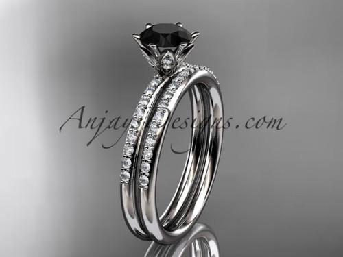 platinum diamond unique engagement set, wedding ring with a Black Diamond center stone ADER145S