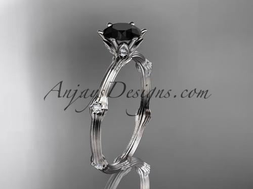 Vine Engagement Ring - Platinum Black Diamond Ring ADLR38
