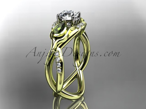 Unique 14kt yellow gold diamond tulip flower, leaf and vine engagement ring ADLR226