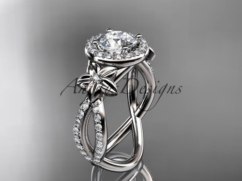 14k white gold leaf and flower diamond unique engagement ring, wedding ring ADLR374