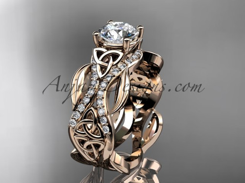 14kt rose gold diamond celtic trinity knot wedding ring, engagement ring CT7515