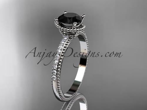 14kt white gold diamond unique engagement ring, wedding ring with Black Diamond center stone ADER86