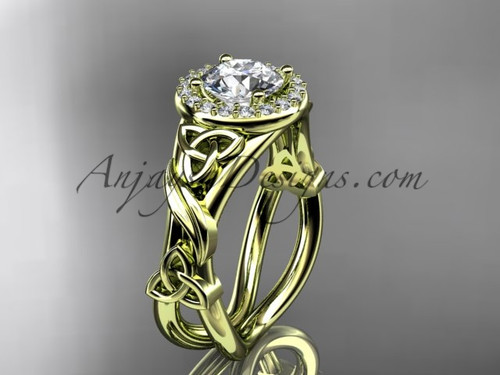 """14kt yellow gold diamond celtic trinity knot wedding ring, engagement ring with a """"Forever One"""" Moissanite center stoneCT7302"""