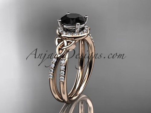 14kt rose gold diamond celtic trinity knot wedding ring, engagement ring with a Black Diamond center stone CT7373