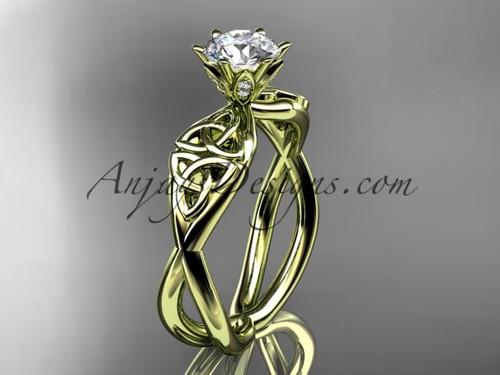 Celtic Wedding Ring,  Yellow Gold Moissanite Ring CT7221
