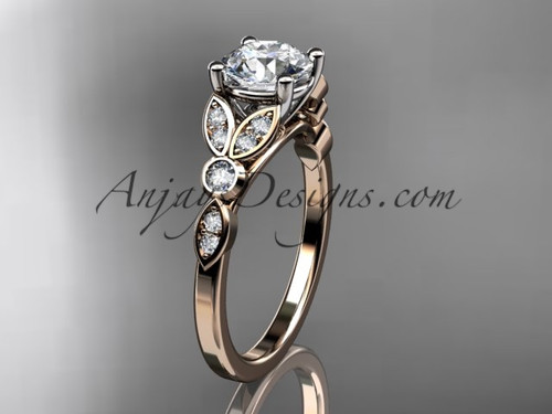"14k rose gold unique engagement ring, wedding ring with a ""Forever One"" Moissanite center stone ADLR387"