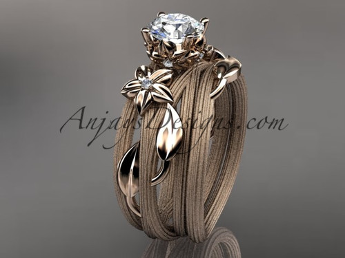 14kt rose gold diamond floral, leaf and vine wedding ring, engagement set ADLR253S
