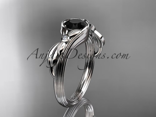 Black Diamond Engagement Rings, Platinum Flower Ring ADLR324