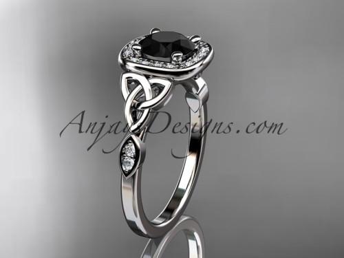 platinum diamond celtic trinity knot wedding ring, engagement ring with a Black Diamond center stone CT7179