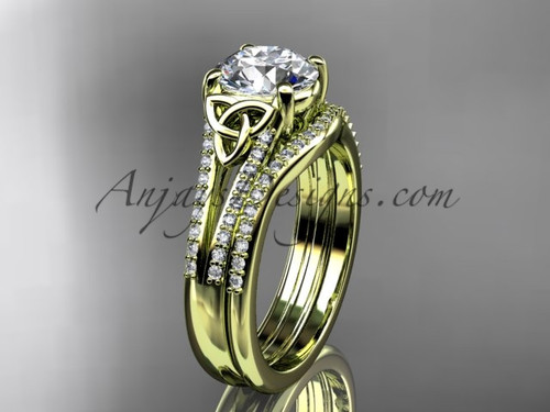 "14kt yellow gold celtic trinity knot engagement ring ,diamond wedding ring, engagement set with a ""Forever One"" Moissanite center stone CT7108S"