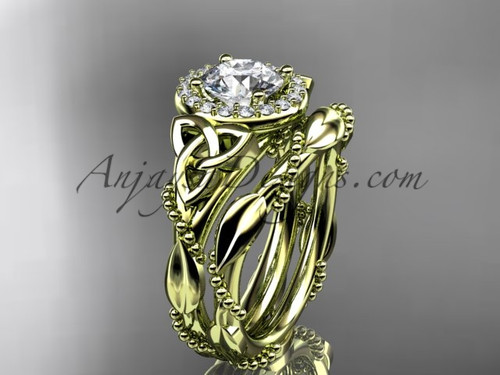"""14kt yellow gold diamond celtic trinity knot wedding ring, engagement set with a """"Forever One"""" Moissanite center stoneCT7328S"""