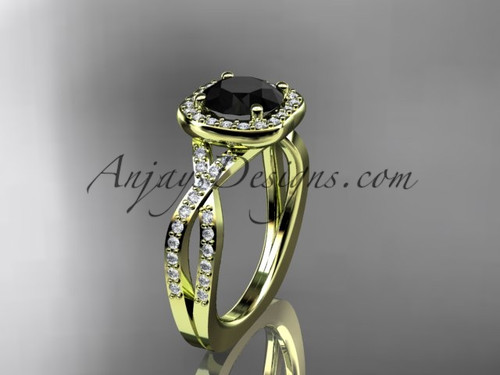14kt yellow gold wedding ring, engagement ring  with a Black Diamond center stone ADER393
