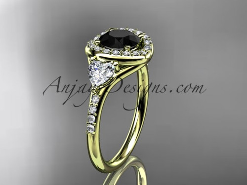 14kt yellow gold diamond unique engagement ring,wedding ring with a Black Diamond center stone ADLR201