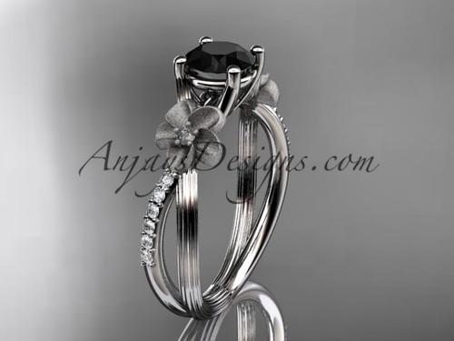 platinum diamond leaf and vine wedding ring, engagement ring with a Black Diamond center stone ADLR214