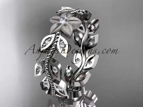 14kt white gold diamond flower, leaf and vine wedding ring, engagement ring,wedding band ADLR161B