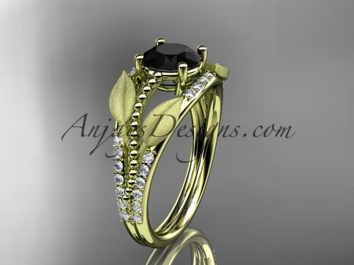 14kt yellow gold diamond leaf and vine wedding ring, engagement ring with Black Diamond center stone ADLR75