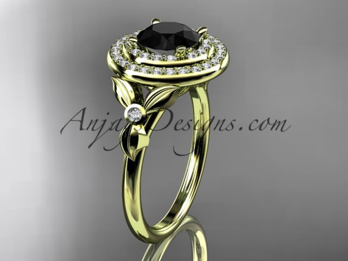 14kt yellow gold diamond floral wedding ring, engagement ring with a Black Diamond center stone ADLR133