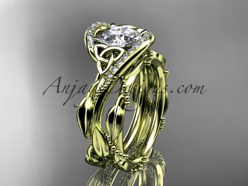 14kt Yellow Gold Celtic Trinity Knot Engagement Set CT764S