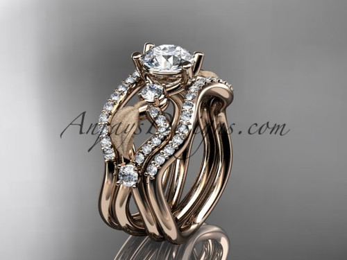 "14kt rose gold diamond leaf and vine wedding ring, engagement ring with ""Forever One"" Moissanite center stone and double matching band ADLR68S"