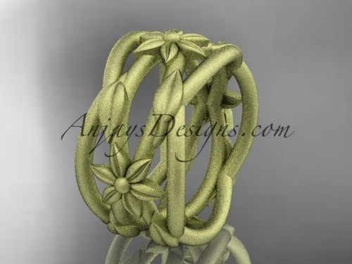 Leaf Engagement Rings Yellow  Gold Matte Wedding Ring ADLR352G