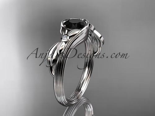 Nature Inspired Black Diamond White Gold Wedding Ring ADLR324