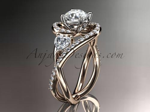 Unique 14kt rose gold diamond engagement ring, wedding ring ADLR320
