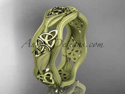 14kt yellow gold celtic trinity knot wedding band, engagement  ring CT7504GM