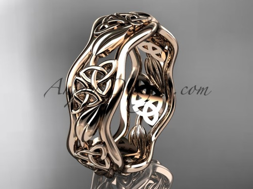 14kt rose gold celtic trinity knot wedding band, engagement  ring CT7506G